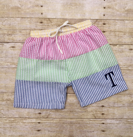 Boys Colorblock Seersucker Swimtrunks with Yellow Waistband