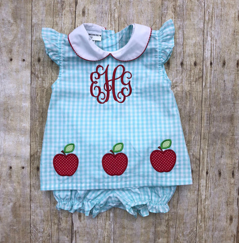 Mint Gingham Monogrammable Apple Embroidered Diaper Set