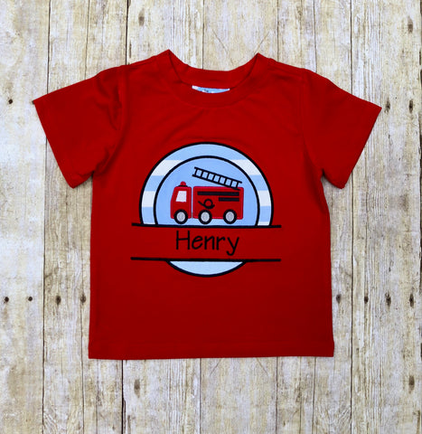 Red Knit & Blue Check Monogrammable Firetruck Applique Shirt