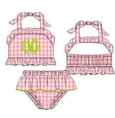Large Pink Gingham Monogrammable 2 Piece Swimsuit w/ Lime Green Rick Rack Trim