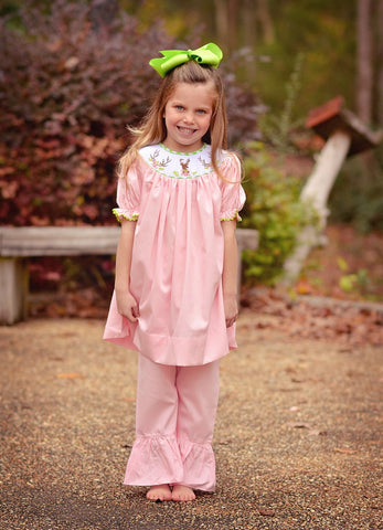 Pink Smocked Floral Buck Head Bishop Top with Pink Ruffle Pants