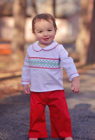 White Long Sleeved Geo Smocked Christmas Pants Set