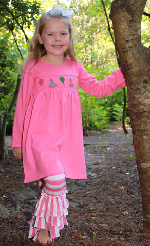 Pink Smocked Celebration Swing Top & Pink Striped Knit Ruffle Pants