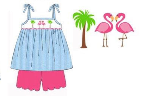 Aqua Seersucker Smocked Flamingo Swing Top & Hot Pink Scallop Shorts
