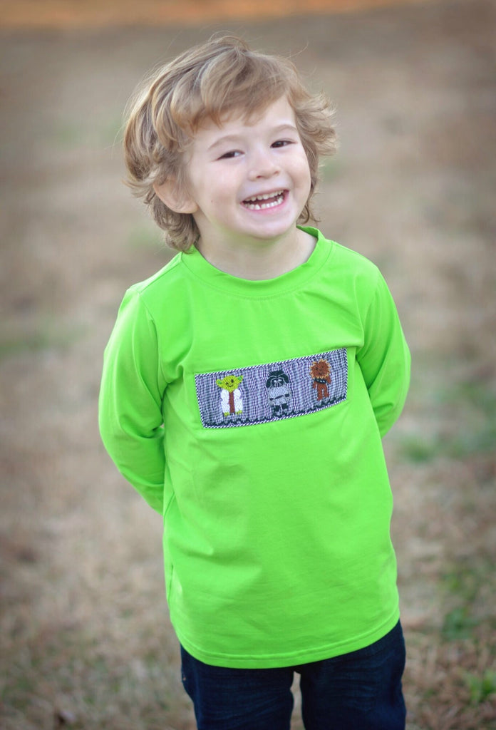 Boys Lime Smocked Star Wars Inspired Shirt Only