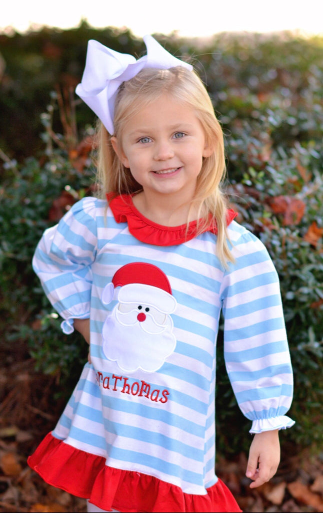 Blue Striped Knit Monogrammable Santa Applique Nightgown, girls applique nightgown, The Smocking Bug, The Smocking Bug