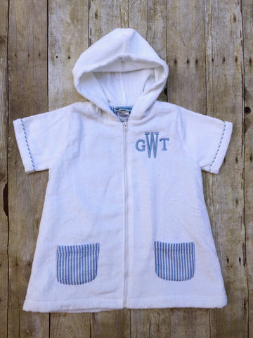 Monogrammable Zip Up White Terrycloth Swim Coverup with Blue Seersucker Lining & Pockets
