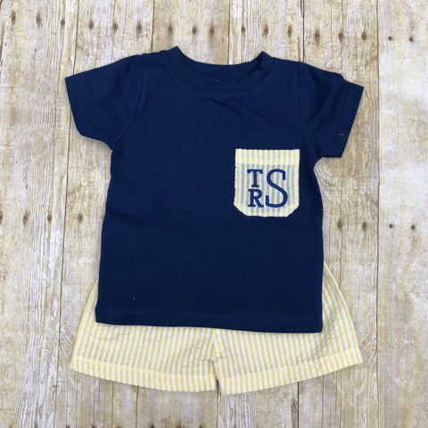 Boys Navy T-Shirt with Monogrammable Yellow Seersucker Pocket & Shorts