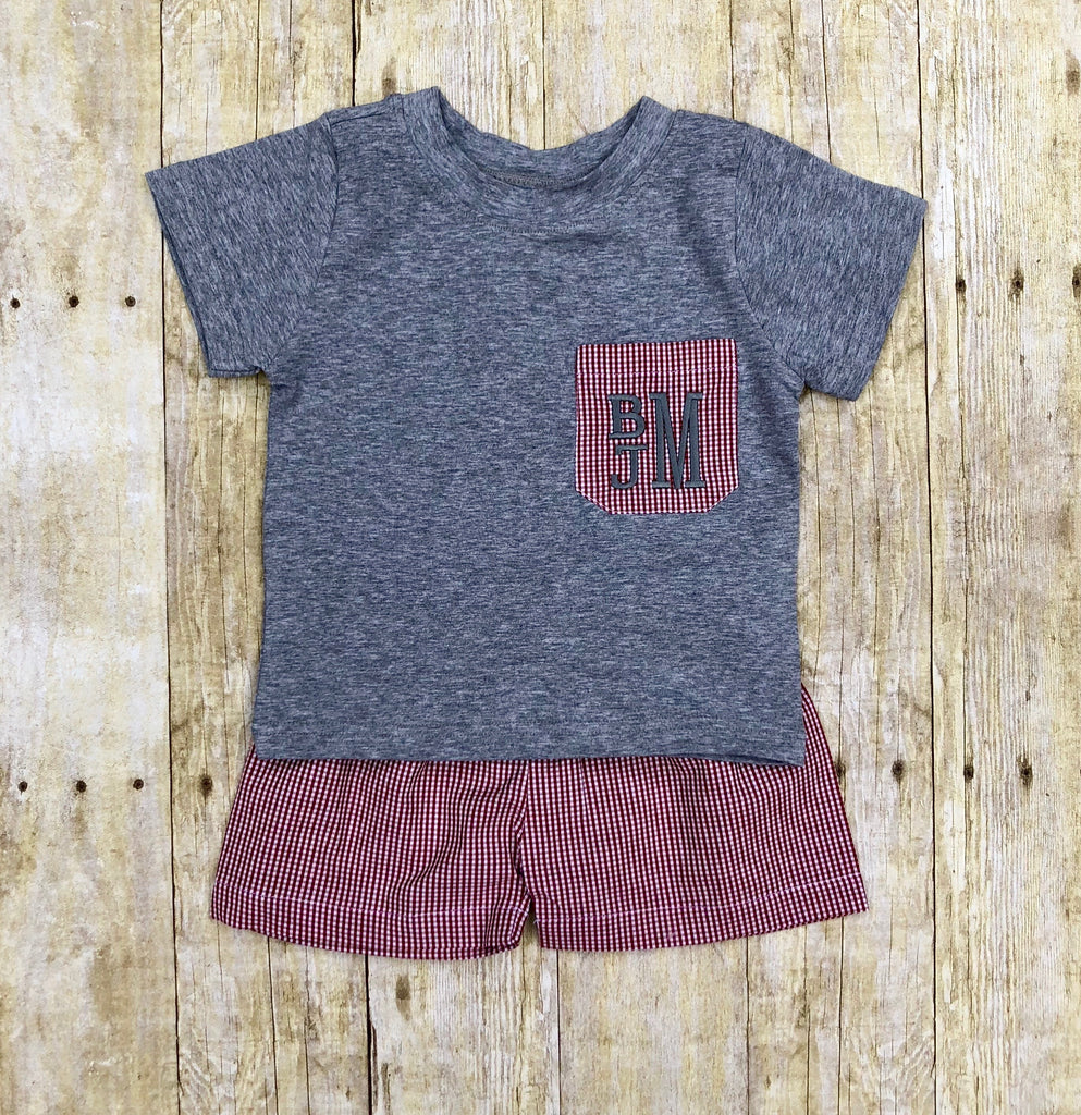 Boys Monogrammable Crimson & Grey Pocket Tee Shorts Set, Boys Shorts Set, The Smocking Bug, The Smocking Bug