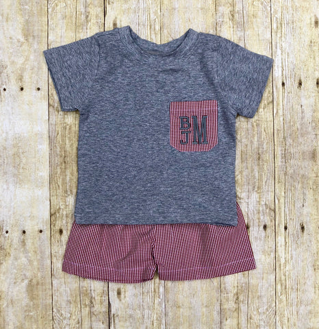 Boys Monogrammable Crimson & Grey Pocket Tee Shorts Set