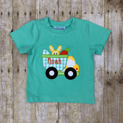 Boys Monogrammable Mint Easter Dump Truck Applique Knit T-Shirt, Boys Applique Shirt, The Smocking Bug, The Smocking Bug
