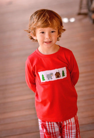 Red Smocked Smokey Mountains Boys SHIRT ONLY