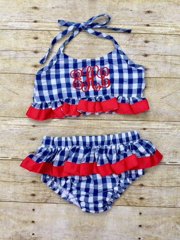 Girls Navy Gingham 2 Piece Swimsuit w/ Red Ribbon Trim
