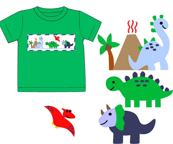 Green Smocked Dinosaur Shirt