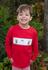 Boys Red Smocked Santa & Reindeer Shirt, boys smocked shirt, The Smocking Bug, The Smocking Bug