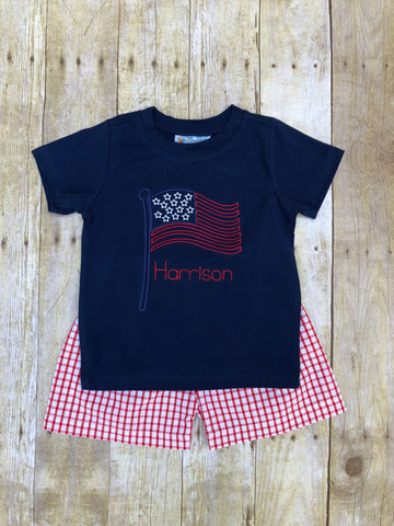 Boys Navy Monogrammable Beanstitch Flag T-shirt & Red Windowpane Knit Shorts