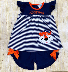 Applique Tiger Monogrammable Girls Short Set, Girls Applique Short Set, The Smocking Bug, The Smocking Bug