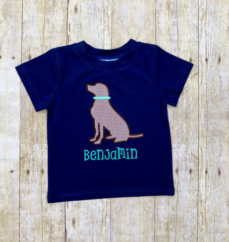 Navy Knit Monogrammable Chocolate Lab Shirt