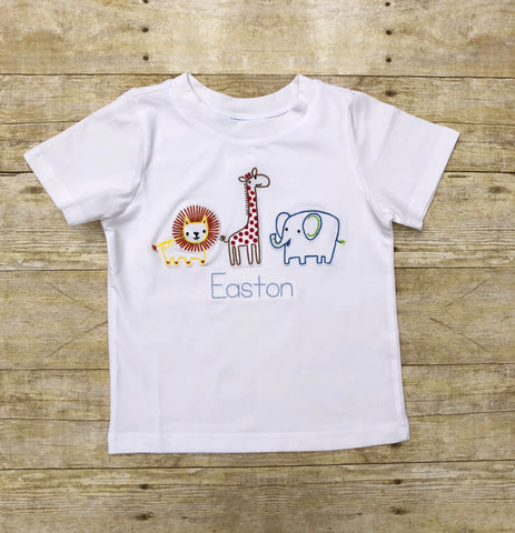 White Vintage Stitch Zoo Animals Shirt