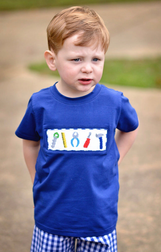Navy Smocked Tools T-Shirt, Boys Shirt, The Smocking Bug, The Smocking Bug