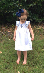 White Dress with Navy and Light Blue Plaid Trim, girls dress, The Smocking Bug, The Smocking Bug