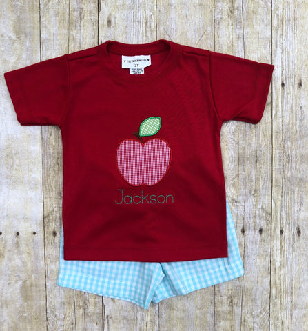 Red Apple Applique Shirt & Mint Gingham Shorts