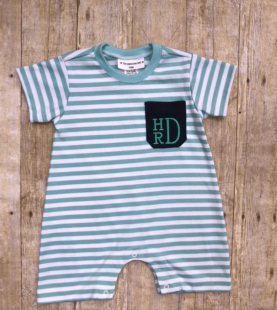 Mint & Navy Knit Monogrammable Pocket Romper