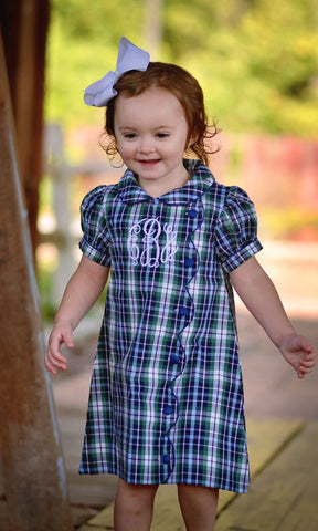 Girls Plaid Monogrammable Dress