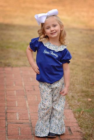 Girls Blue Floral Ruffle Pants Set