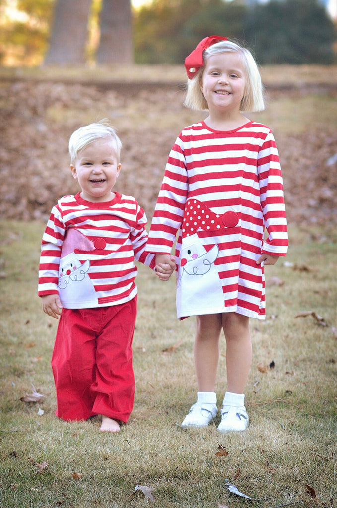 Girls Knit Red Striped Santa Applique Dress, Appliqued Dress, The Smocking Bug, The Smocking Bug
