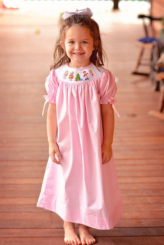 Pink Gingham Smocked Nutcracker Bishop Dress