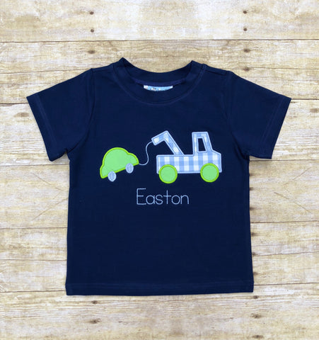 Monogrammable Navy Knit Tow Truck Applique Shirt