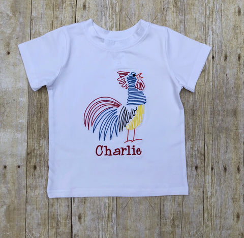 Monogrammable White Knit Colorful Rooster Stitched Shirt