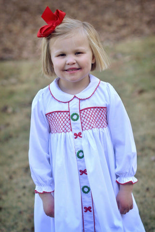 White Long Sleeved Geo Smocked Christmas Dress