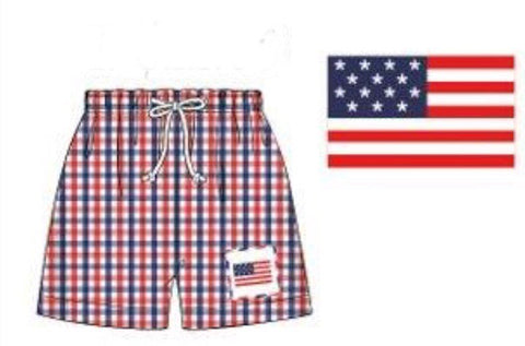 Red & Blue Plaid Smocked Flag Swim Trunk