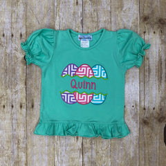 Girls Monogrammable Mint Easter Eggs Applique Knit T-Shirt, girls applique shirt, The Smocking Bug, The Smocking Bug