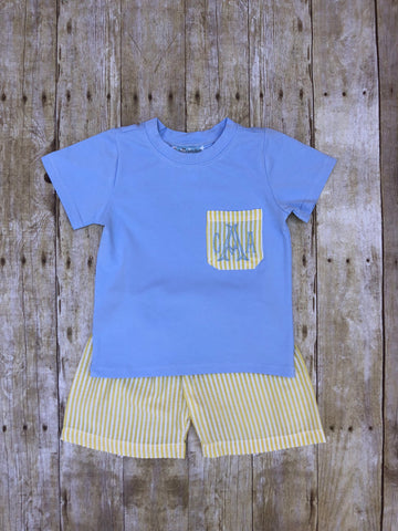 Monogrammable Pale Yellow/Blue Seersucker Shorts Set