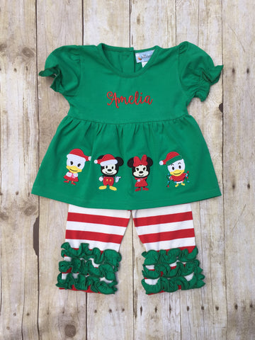 Girls Green Knit Monogrammable Mouse & Friends Christmas Appliqued Top & Red Striped Knit Ruffle Pants