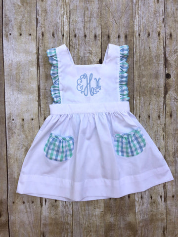 White Pique Monogrammable Cross Back Mint/Blue Plaid Dress