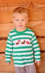 Boys Green Smocked Dinos Shirt