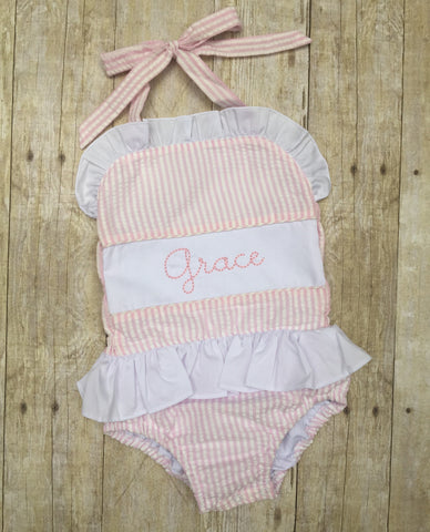 Pink Seersucker Beanstitch Embroidered Name 1 Piece Swimsuit