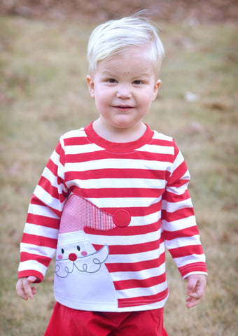 Boys Red Striped Santa Applique Shirt Only