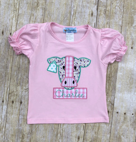 Floral Cow Applique Pink Shirt