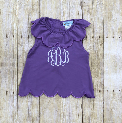 Scallop Sleeveless Monogrammable Lavender Top