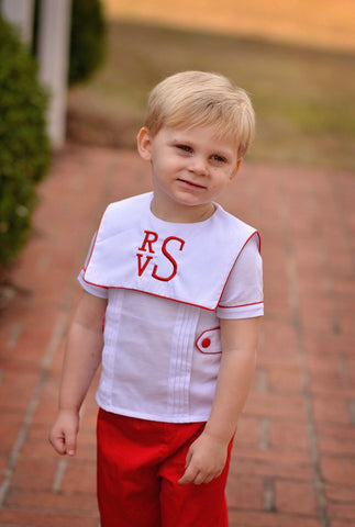 Boys Square Collar Monogrammable White Top w/ Red Pants