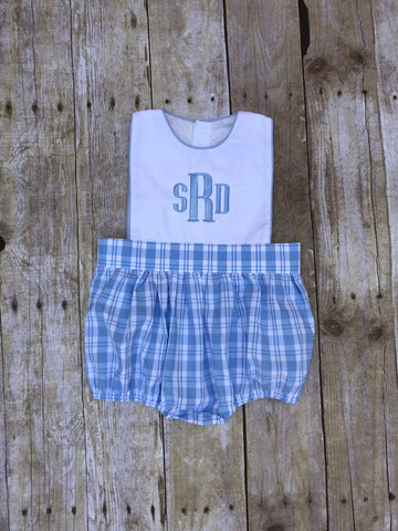Boys Monogrammable Blue and White with Blue Plaid Sun Bubble