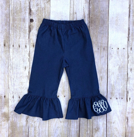 Girls Monogrammable Soft Denim Ruffle Pants