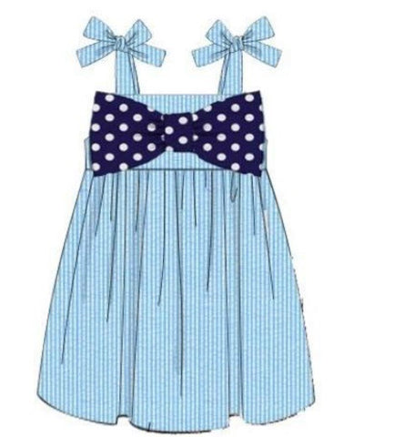 Girls Aqua Seersucker Dress with Navy Dot Bow