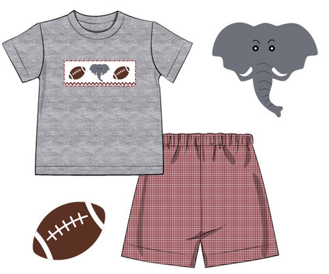 Boys Grey Smocked Elephant Shirt with Crimson Gingham Shorts