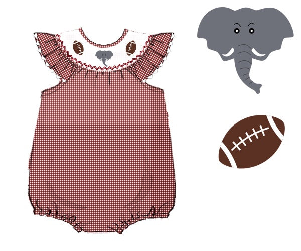 Girls Crimson Gingham Smocked Elephant Bubble